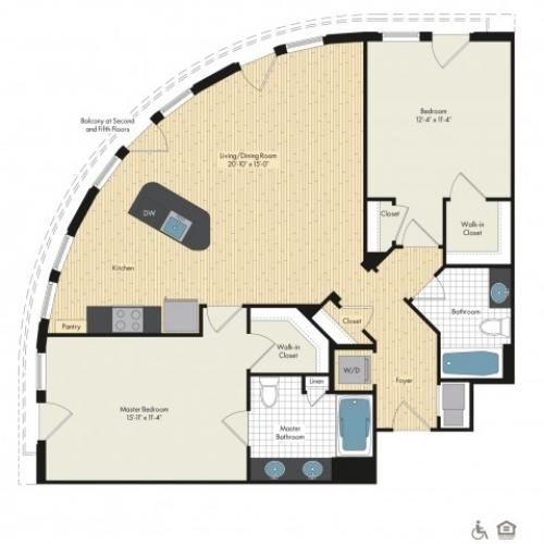 Floor Plan 54 | Luxury Apartments In Bethesda MD | Upstairs at Bethesda Row