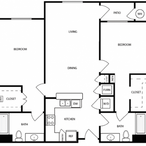 2 Bedroom Floor Plan | West Jordan Utah Apartments | Novi at Jordan Valley Station