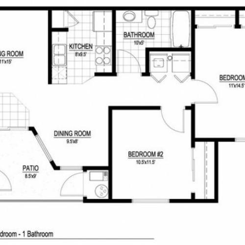 Floor Plan 2 | 2 Bedroom Apartments Salt Lake City | Park Vue