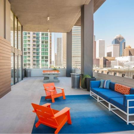 Rooftop Lounge with Fireplace | Houston House