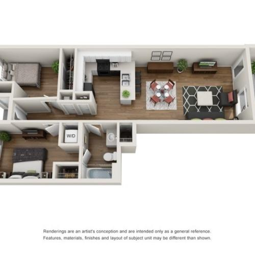3D Floor Plan A | Apartments For Rent Tacoma WA |Chelsea Heights Apartments