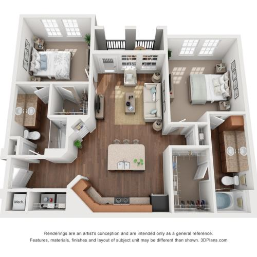 2 Bedrooms Floorplan 2 | The Vineyards at Hammock Ridge