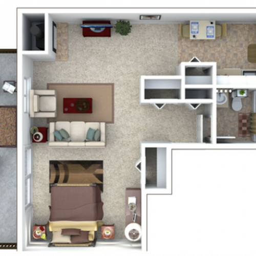 1 Bedroom Floor Plan | The Lodge at Aspen Grove