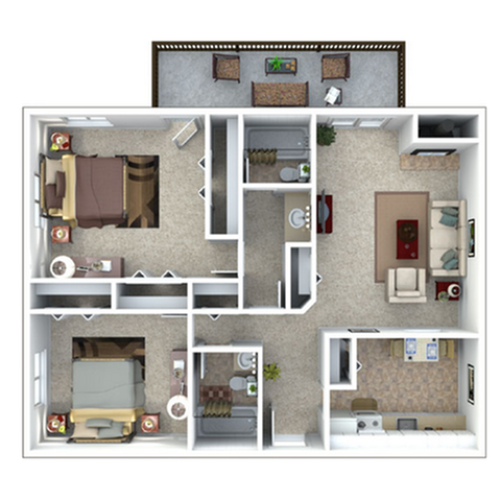 2 Bedroom Floor Plan | The Lodge at Aspen Grove