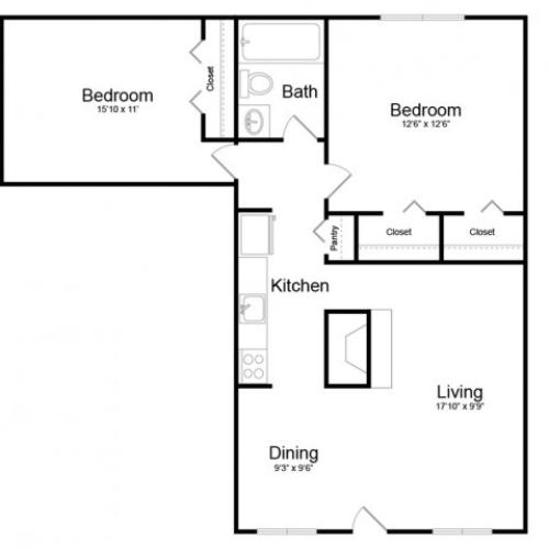 Maple 2 Bedroom | 2 bed 1 bath | from 792 square feet