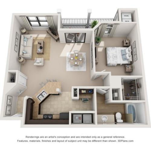 A7 | One Bedroom Floor Plans 6 | Apartments In Raleigh NC | NorthCity 6