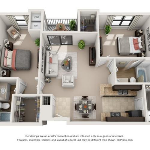 B2   Two Bedroom Floor Plans 1   Apartments In Raleigh NC   NorthCity 6