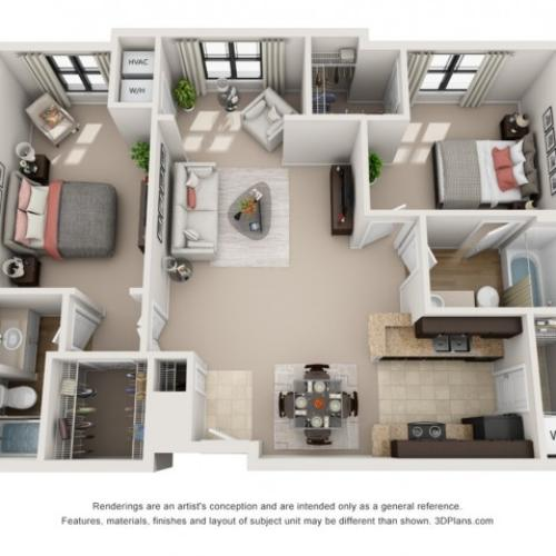 B5 Two Bedroom Floor Plans 4 | Apartments In Raleigh NC | NorthCity 6