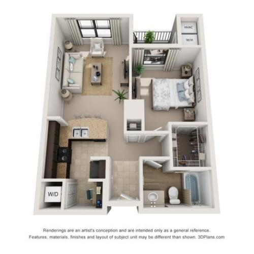 A1 | One Bedroom Floor Plans | Apartments In Raleigh NC | NorthCity 6