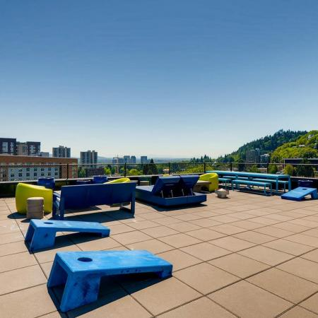 Rooftop Cornhole | Portland OR Apartments For Rent | Park Plaza