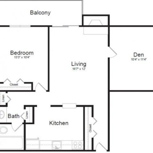 One Bedroom with Den Floor Plan | The Lodge at Aspen Grove 2