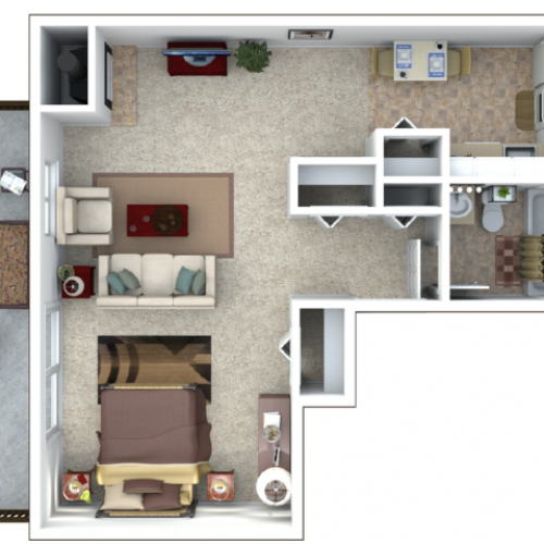 Cypress Studio 480 sq ft