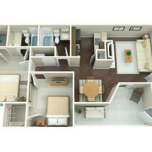 2 Bedroom Floor Plan | Riverbend 2
