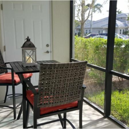 Screened patio in one bedroom floorplan