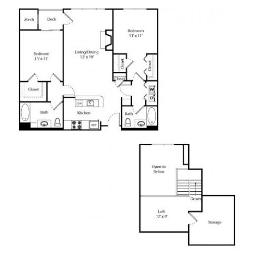 Glenbrook w/ Loft | 2 bed 2 bath | from 1108 square feet