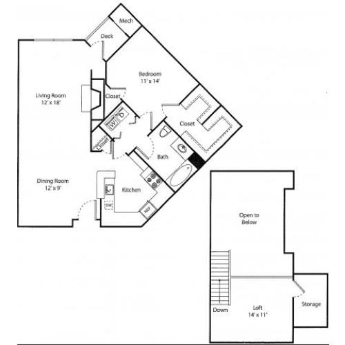 Deerfield w/ Loft | 1 bed 1 bath | from 1015 square feet