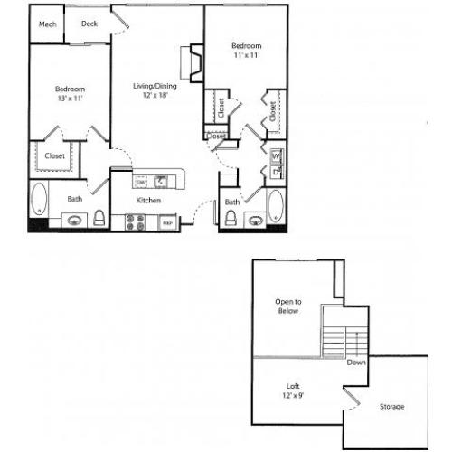 Glenbrook w/ Loft Renovated | 2 bed 2 bath | from 1108 square feet