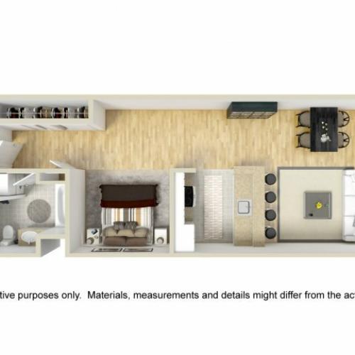 1 Bedroom Floor Plan | Museum Place 2