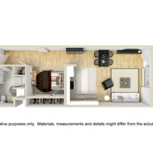 1 Bedroom Floor Plan | Museum Place4
