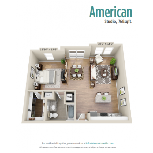 American | Studio1 bath | from 760 square feet