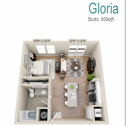 Gloria | Studio1 bath | from 576 square feet