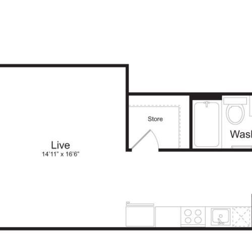 Studio Floor Plan | Mark on 8th 2
