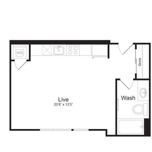 Studio Floor Plan | Mark on 8th 3