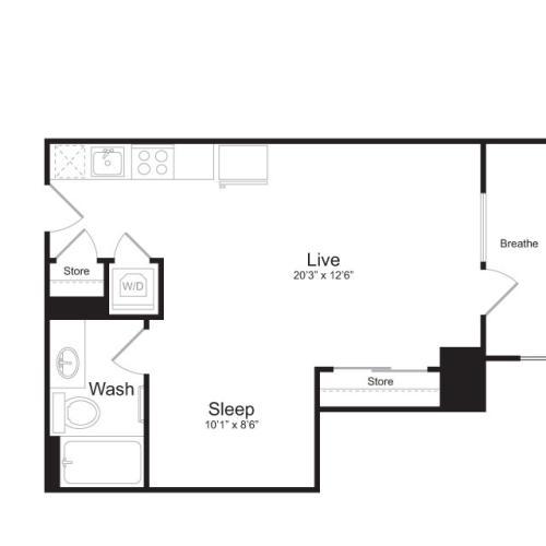 Studio Floor Plan | Mark on 8th 4