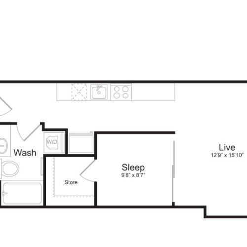 1 Bedroom Floor Plan | Mark on 8th