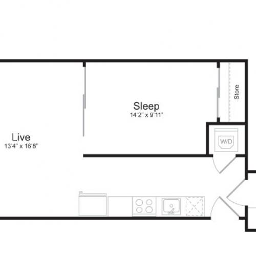 1 Bedroom Floor Plan | Mark on 8th 3