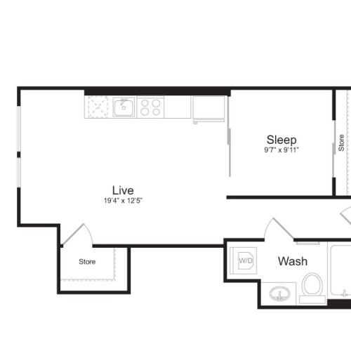 1 Bedroom Floor Plan | Mark on 8th 4