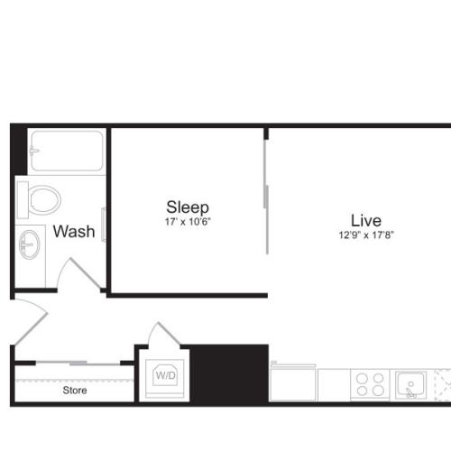 1 Bedroom Floor Plan | Mark on 8th 5