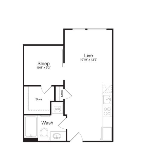 1 Bedroom Floor Plan | Mark on 8th 6