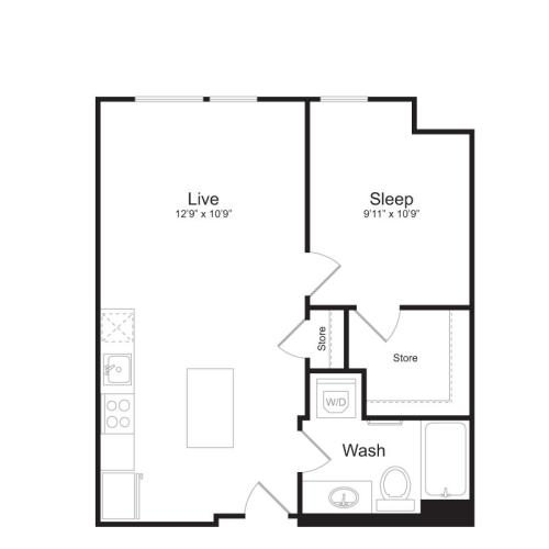1 Bedroom Floor Plan | Mark on 8th 9