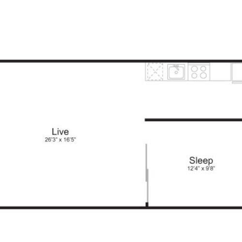 1 Bedroom Floor Plan | Mark on 8th 10