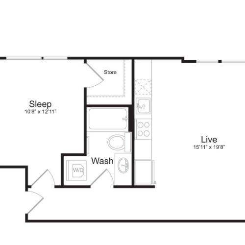 1 Bedroom Floor Plan | Mark on 8th 12