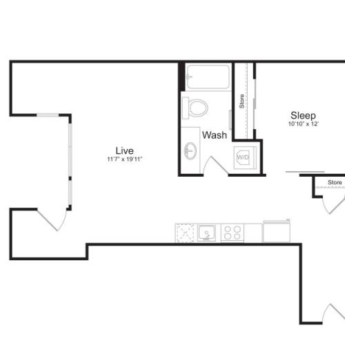 1 Bedroom Floor Plan | Mark on 8th 13