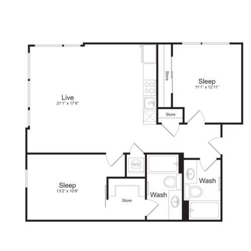 2 Bedroom Floor Plan | Mark on 8th