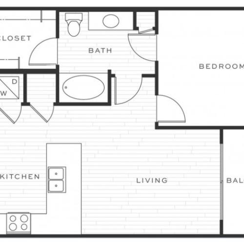 1 Bedroom Floorplan | Luxe Scottsdale