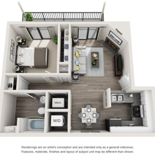 One Bedroom Floor Plan | Apartments For Rent Arvada CO | The Ridge at Mountain View