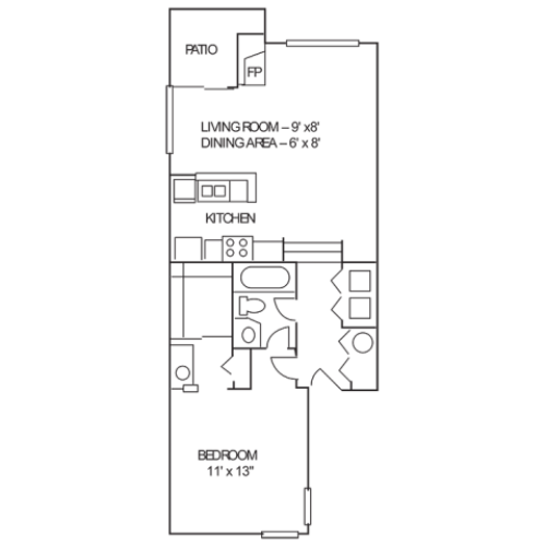 1 Bdrm Floor Plan | 1 Bedroom Apartments Indianapolis | Island Club