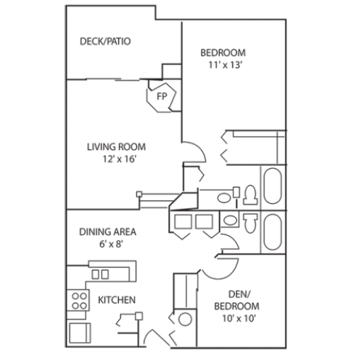 2 Bdrm Floor Plan | Pet Friendly Apartments Indianapolis | Island Club