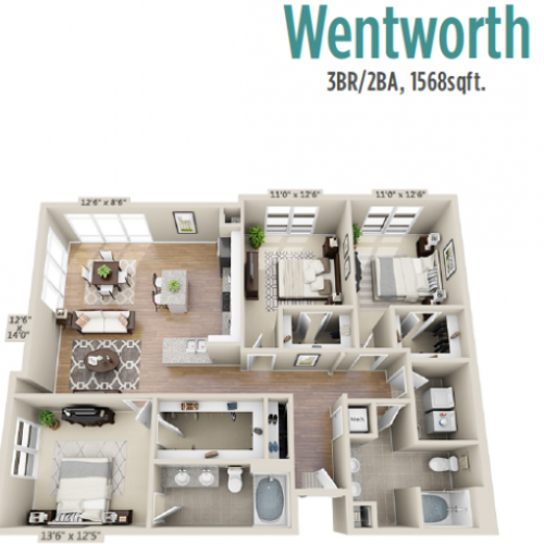Wentworth | 3 bed 2 bath | from 1556 square feet