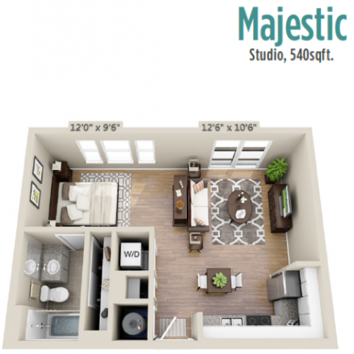 Majestic | Studio1 bath | from 546 square feet