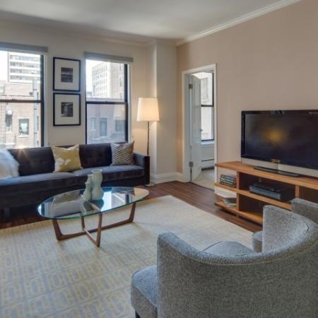 Elegant Living Area | Apartments Near Northwestern University Law School | The Seneca