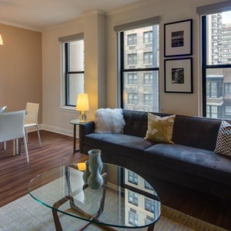 Spacious Living Area | Apartments North Chicago | The Seneca