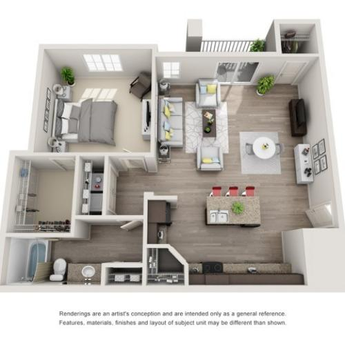 1 Bedroom Floorplan | Sandalwood