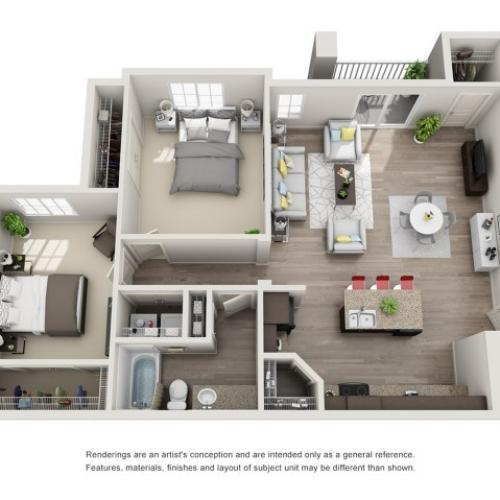 2 Bedroom Floorplan | Sandalwood