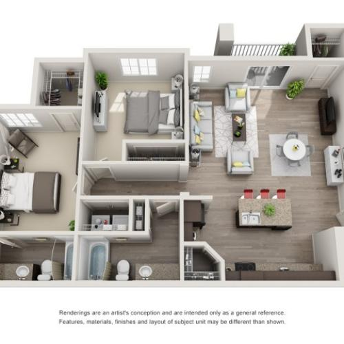 2 Bedroom Floorplan | Sandalwood 1