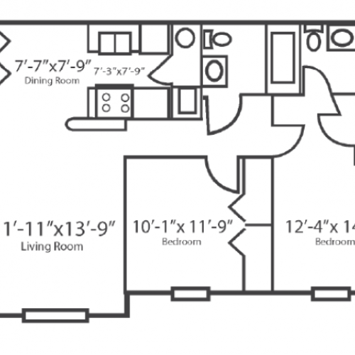 2 Bedroom Floor Plan | Columbus Apartments | The Attleigh